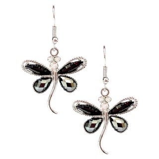 Bleek2Sheek Hematite and Rhinestone Crystal Dragonfly Earrings