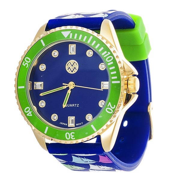 The Macbeth Collection Sailboat Women's Pop Color Fashion Rubber Band Green Watch