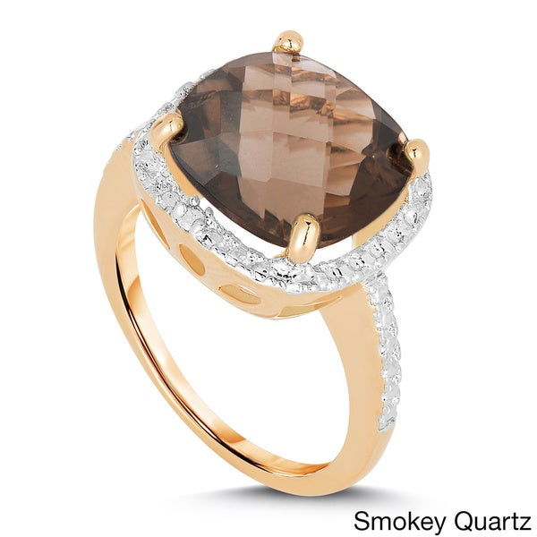 Dolce Giavonna Gold-over-Silver 1/10 CT TW Diamond and Gemstone Ring