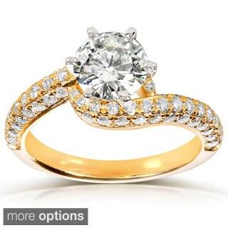 Annello 14k Gold Round-cut Moissanite and 3/5ct TDW Diamond Engagement Ring (G-H, I1-I2)