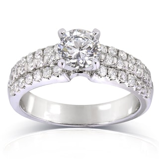 Annello 14k White Gold Certified 1 5/8ct TDW Diamond Engagement Ring (F, SI2)