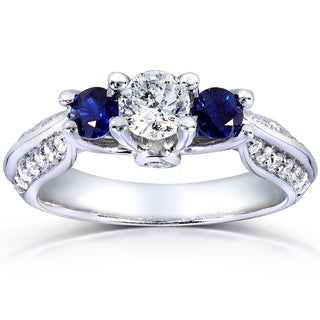 Annello 14k White Gold Round Blue Sapphire and 3/4ct TDW Diamond Three-stone Ring (H-I, I1-I2)