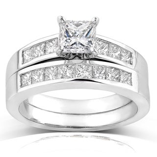 Annello 18k White Gold 1 3/5ct TDW Certified Princess Diamond 2-piece Bridal Rings Set (E-F, VS1-VS2)