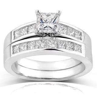 Annello 18k White Gold 1 3/5ct TDW Certified Princess Diamond 2-piece Bridal Rings Set (E-F, VS1-VS2)