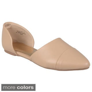 Journee Collection Women's 'Object-49' Almond Toe Side Cutout Flats
