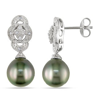 Miadora Sterling Silver Tahitian Pearl and Diamond Accent Earrings (9-9.5 mm)