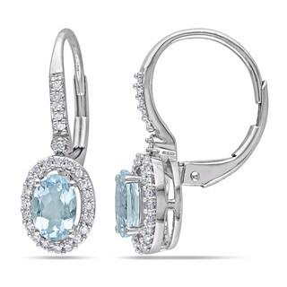 Miadora 10k White Gold Aquamarine and 1/5ct TDW Diamond Earrings (G-H, I1-I2)