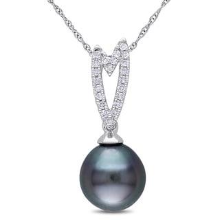 Miadora 10k White Gold Tahitian Pearl and 1/10ct TDW Diamond Necklace (H-I, I2-I3)