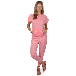 Hailey Jeans Co. Junior's Short-sleeve French Terry Lounge Set