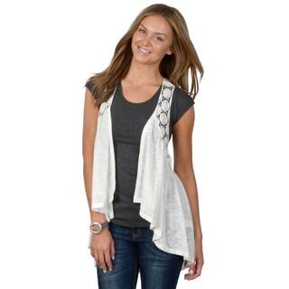 Journee Collection Women's Crochet Detail Open Front Vest