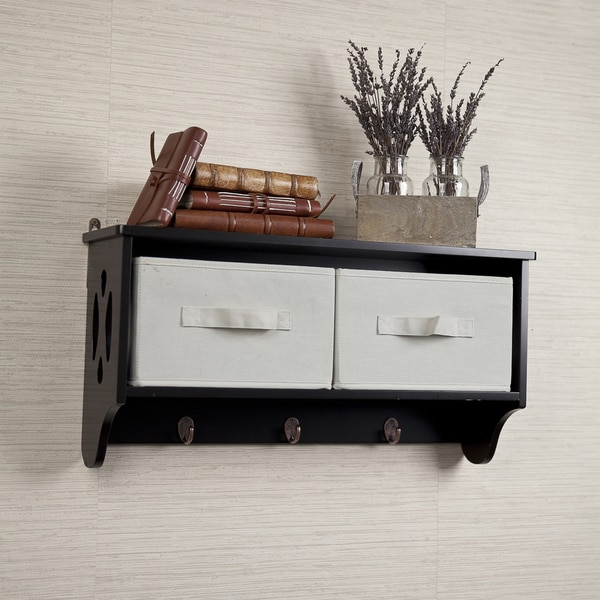 Entryway Storage Wall Shelf with Canvas Bins and Hooks