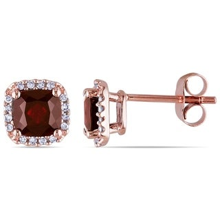 Miadora 10k Rose Gold Garnet and 1/10ct TDW Diamond Earrings (H-I, I2-I3)