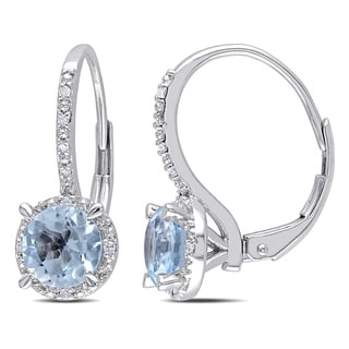 Miadora 10k White Gold 2ct TGW Blue Topaz and Diamond Earrings