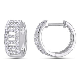 Miadora 10k White Gold 1/3ct TDW Diamond Hoop Earrings (H-I, I2-I3)