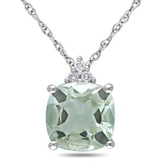 Miadora 10k White Gold 2ct TGW Green Amethyst and Diamond Accent Solitaire Necklace