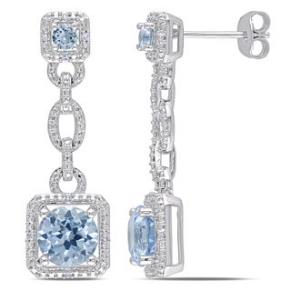 Miadora Sterling Silver Created Aquamarine and Diamond Dangle Earrings