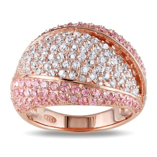 Miadora Rose Plated Silver White and Pink Cubic Zirconia Cocktail Ring