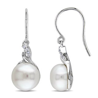 Miadora Sterling Silver White Pearl and Diamond Accent Earrings (10.5-11 mm)