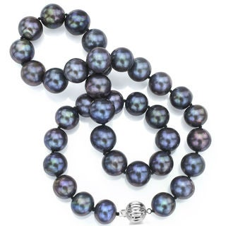 DaVonna Sterling Silver Black Freshwater Pearl Necklace (12-14 mm)