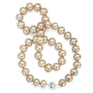DaVonna Sterling Silver Pink Cultured Pearl Necklace (12-13 mm)