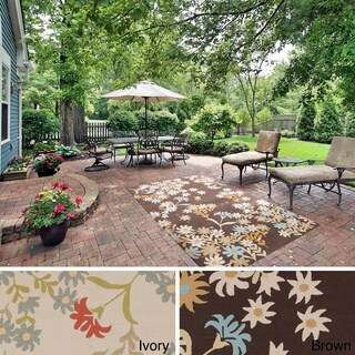 Hand-Hooked Hillary Casual Floral Indoor/ Outdoor Area Rug (5' x 8')