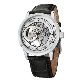 Stuhrling Original Men's Delphi Saros Automatic Leather Strap Watch