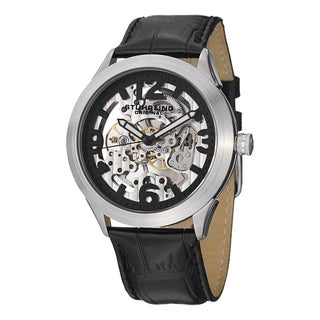 Stuhrling Original Men's Commerce Mechanical Leather Strap Watch