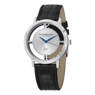 Stuhrling Original Men's Cathedal Watch Set Swiss Quartz Leather Strap Watch Set