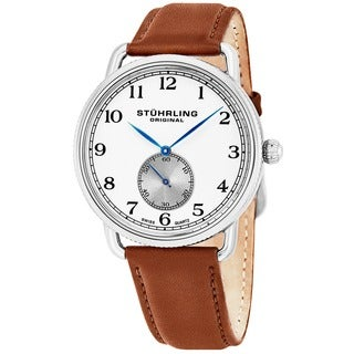 Stuhrling Original Men's Décor Swiss Quartz Leather Strap Watch