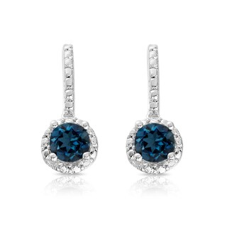 Dolce Giavonna Sterling Silver London Blue Topaz Earrings