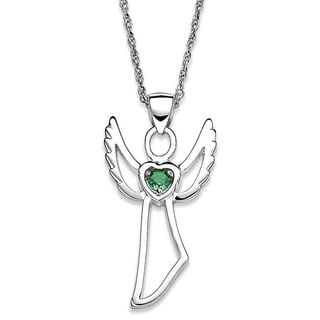 Sterling Silver Genuine Birthstone Angel Necklace