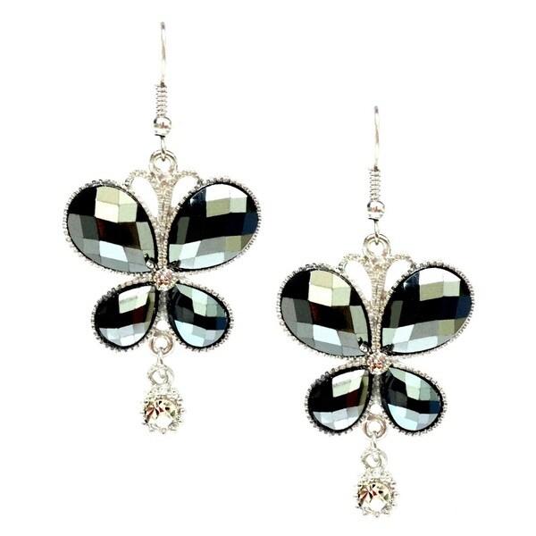Bleek2Sheek Hematite and Rhinestone Crystal Butterfly Earrings