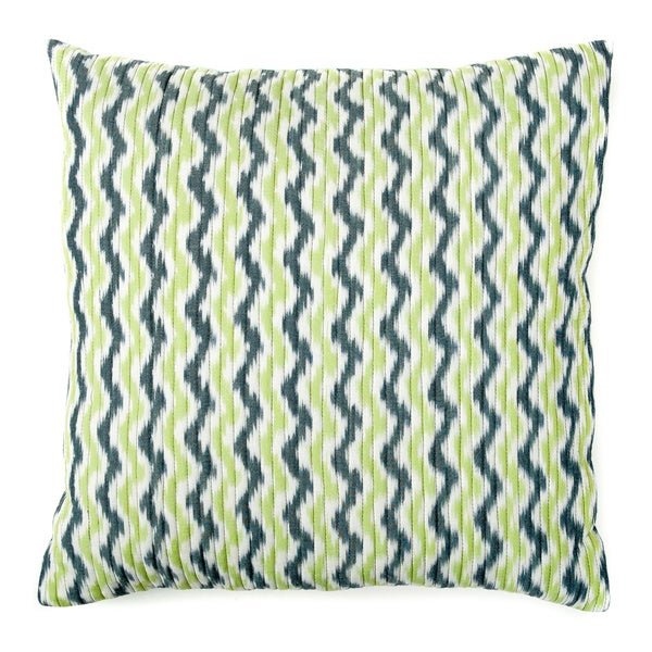 Quilted Ikat Green Blue Pillow