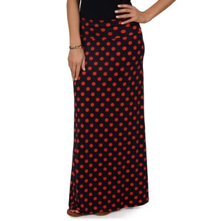 Hailey Jeans Co. Junior's Polka Dot Fold-over Maxi Skirt