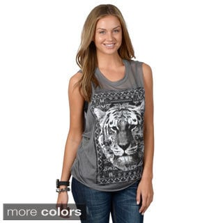 Hailey Jeans Co. Junior's Sleeveless Tiger Print Graphic Tee