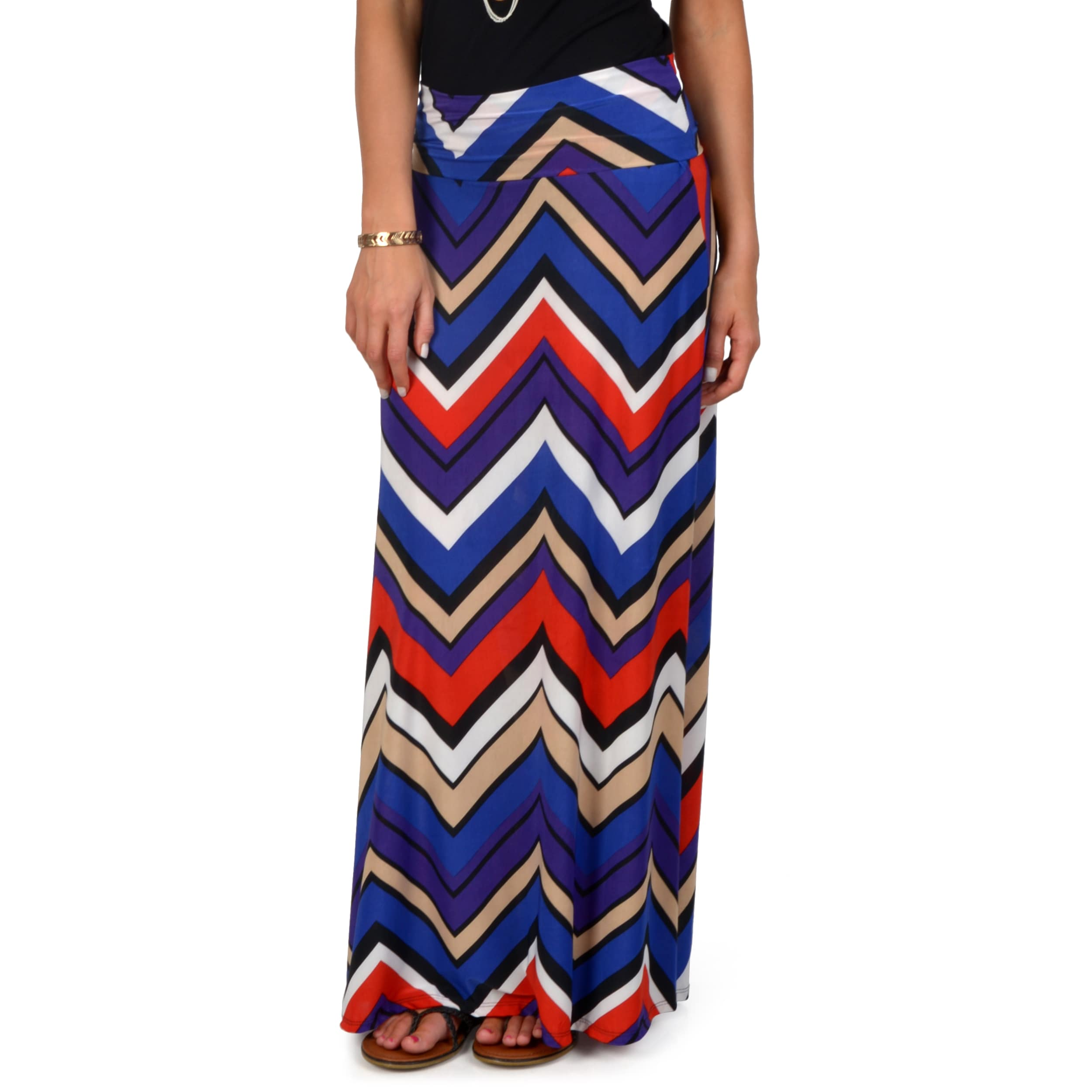 Hailey Jeans Co. Junior's Chevron Print Fold-over Maxi Skirt