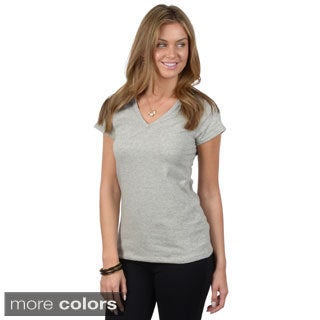 Fashion Corner Junior's V-Neck Cap Sleeve Tee