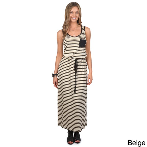Hailey Jeans Co. Junior's Sleeveless Tie Waist Maxi Dress
