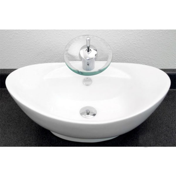 Porcelain Vessel Sinks Bathroom : ... Style Oval Shape 23inch Porcelain Ceramic Bathroom Vessel Sink image