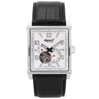 Ingersoll Men's 'Lane Classic' Black Leather Square Watch