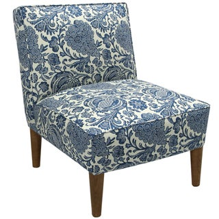 Custom-made Blue/ Cream Floral Armless Chair