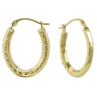 10k Yellow Gold Gold Diamond Cut Oval Hoop Earrings
