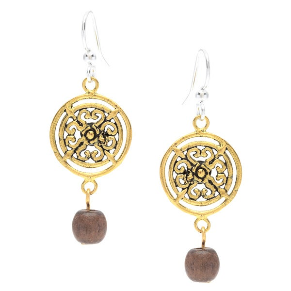 Maya Wood Drop Medallion Earrings