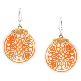 Maya Brass Orange Hook Medallion Earrings