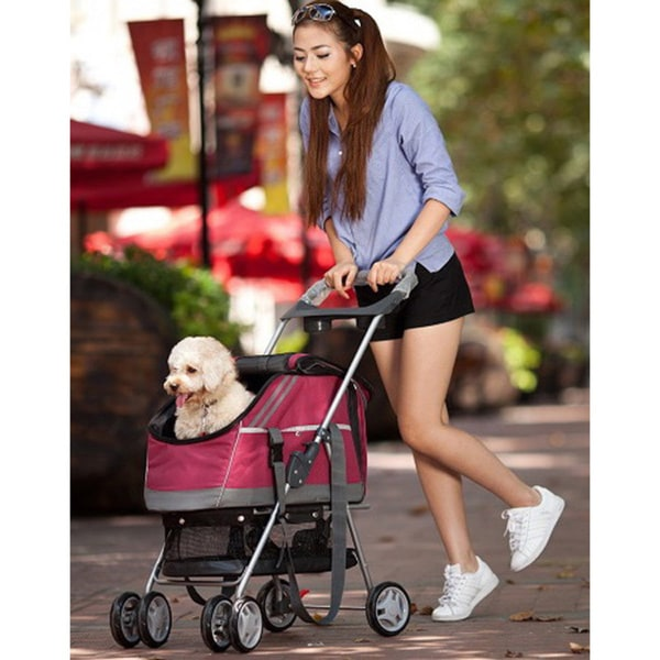 Pet Life Red All-in-One Pet Stroller