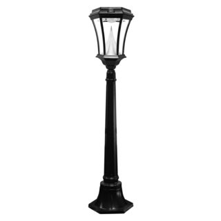 Gama Sonic GS-94L Black Post Victorian Short Solar Lamp with 9 Bright-white LEDs