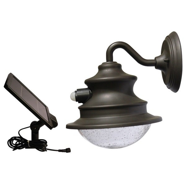Gama Sonic GS-122-PIR Brown Wall Mount Motion-sensing Solar Barn Light with 6 Bright-white LEDs