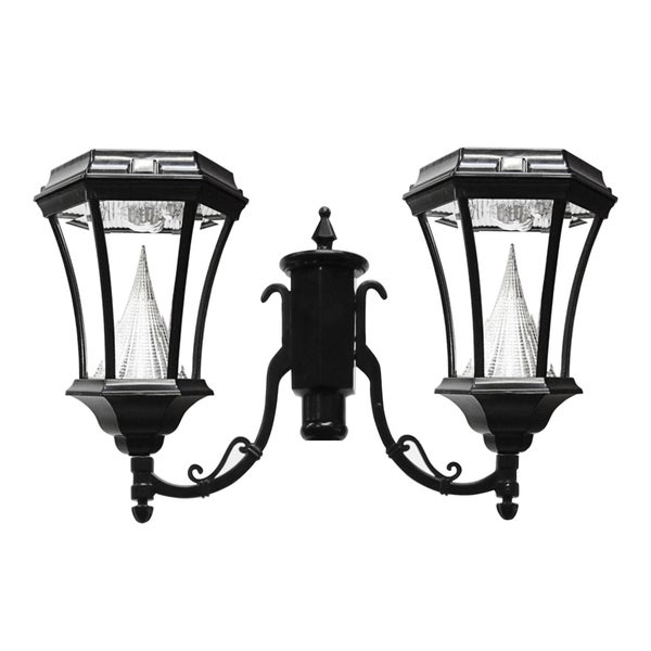 gs 94f2 post mount victorian light fixture with 2 solar 9 led lights. Black Bedroom Furniture Sets. Home Design Ideas
