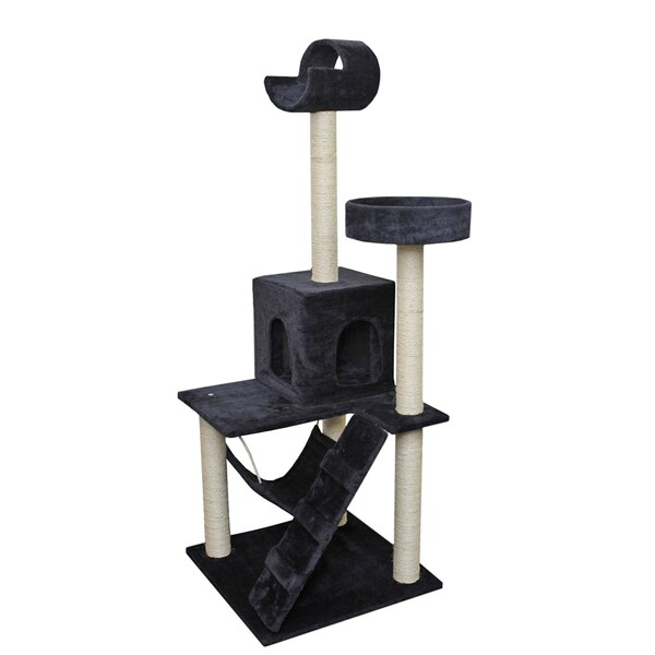 OxGord Navy / White 58-inch Cat Tree