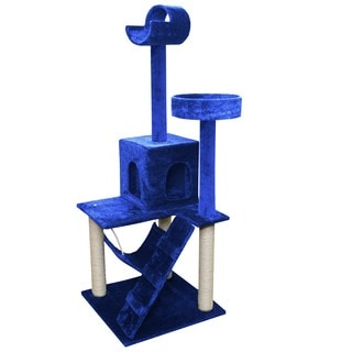 Navy Blue/ White 58-inch Tall Cat Tree Tower Condo